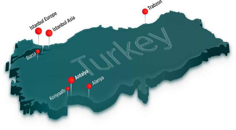 Antalya Homes serves on several locations in Turkey.