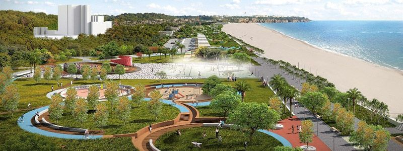 The purpose of the project, combine coast and green areas without concrete.