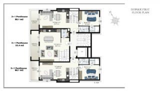 Ready Apartments in Alanya 100 mt to Cleopatra Beach, Property Plans-3