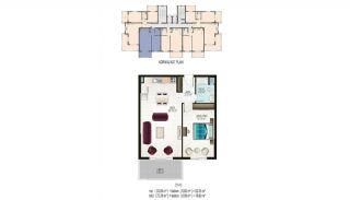 Элитные Квартиры в Махмутларе, Алания с Видом на Природу, Планировка -3