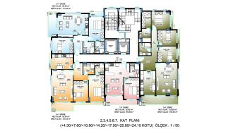 New Apartments in Alanya Turkey at the Famous Street, Property Plans-6