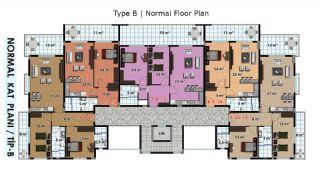 آپارتمان آماده تحویل با طراحی شیک در آلانیا، ترکیه, پلان ملک-2