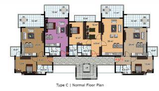 آپارتمان آماده تحویل با طراحی شیک در آلانیا، ترکیه, پلان ملک-3