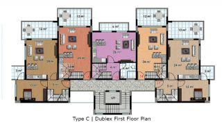 آپارتمان آماده تحویل با طراحی شیک در آلانیا، ترکیه, پلان ملک-7