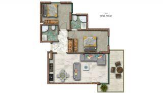 Helt Nya Lyxiga Lägenheter Vid Stranden i Alanya, Planritningar-1