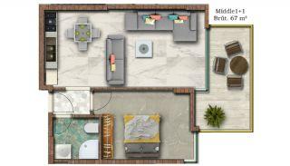 Helt Nya Lyxiga Lägenheter Vid Stranden i Alanya, Planritningar-3