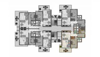 Helt Nya Lyxiga Lägenheter Vid Stranden i Alanya, Planritningar-4