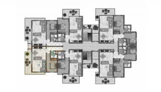 Helt Nya Lyxiga Lägenheter Vid Stranden i Alanya, Planritningar-5