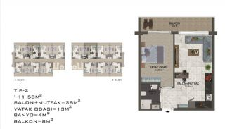Eleganta Lägenheter i Alanya Centrala Läge av Mahmutlar, Planritningar-6