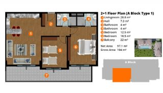 Central Flats with Luxurious Facilities in Kestel Alanya, Property Plans-6