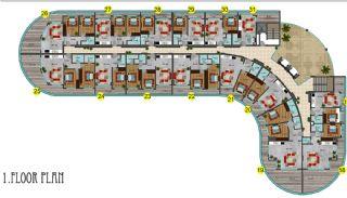 شقق فندقية مطلة على البحر في ألانيا محمودلار, مخططات العقار-5