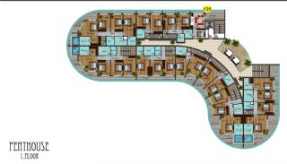 شقق فندقية مطلة على البحر في ألانيا محمودلار, مخططات العقار-15