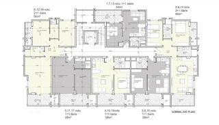 Квартиры в Центре Алании в 300 Метрах от Пляжа Клеопатры, Планировка -1