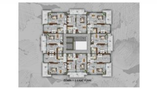 Apartments with Quality Workmanship in Mahmutlar Alanya, Property Plans-1