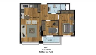 Prisvärda lägenheter nära Antalyas flygplats i Kepez, Planritningar-3