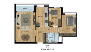 Prisvärda lägenheter nära Antalyas flygplats i Kepez, Planritningar-4