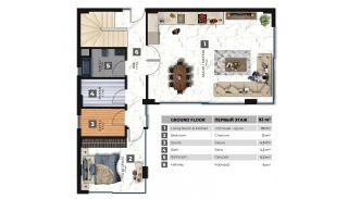 Fristående villa med havs- och bergsutsikt i Kargıcak Alanya, Planritningar-2