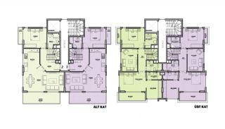 Maisonette Wohnungen mit Burg und Stadtblick in Alanya, Immobilienplaene-1