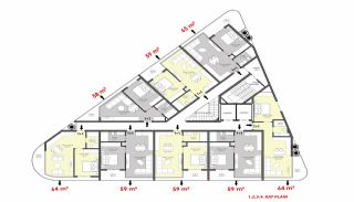 Luxury Flats for Sale Close to Damlataş in Alanya, Property Plans-3