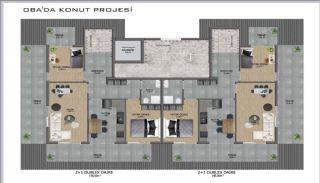 Samtida lägenheter i ett komplex med pool i Alanya, Planritningar-1
