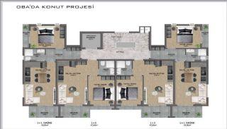 Samtida lägenheter i ett komplex med pool i Alanya, Planritningar-3
