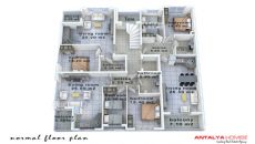 Konyaaltı'nda Eşyalı Komple Satılık Bina, Kat Planları-3
