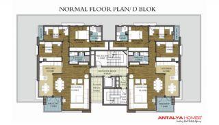 Konyaaltı'nda Lüks İç Tasarıma Sahip 3 Yatak Odalı Daireler, Kat Planları-1