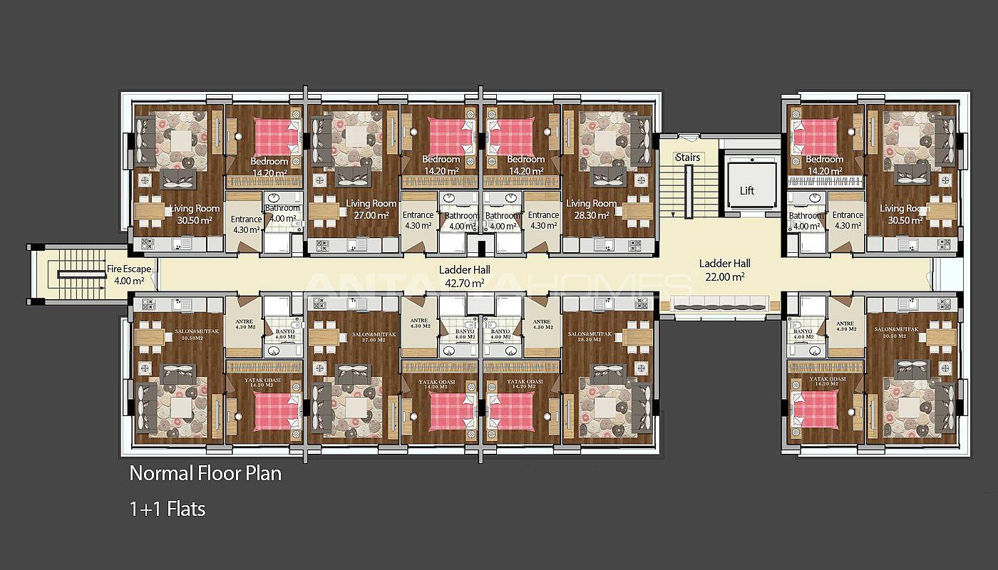 Konyaalti vastgoed te koop met moderne architectuur for 520 plan