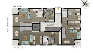Квартиры в Коньяалты Всего в 5 Минутах от Пляжа, Планировка -2