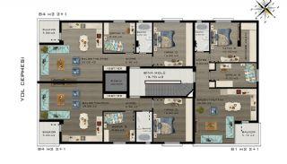 Квартиры в Коньяалты Всего в 5 Минутах от Пляжа, Планировка -3