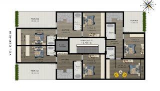 Konyaalti Lägenheter 5 Minuter Avstånd till Stranden, Planritningar-5