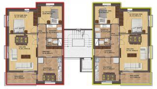 2 Bedroom Apartments with Separate Kitchen in Antalya, Property Plans-1