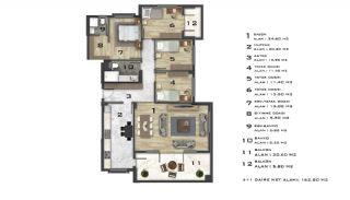 Современные Элитные Квартиры в Новом Проекте в Нилюфер, Бурса, Планировка -1