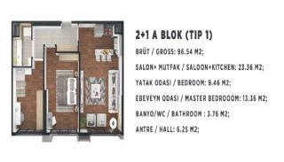 Новые Квартиры в Стамбуле, Турция с Видом на Город и Море, Планировка -3