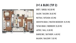 Новые Квартиры в Стамбуле, Турция с Видом на Город и Море, Планировка -4