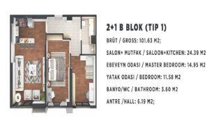 Новые Квартиры в Стамбуле, Турция с Видом на Город и Море, Планировка -5