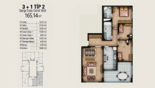 Современные Квартиры с Видом на Город в Стамбуле, Умрание, Планировка -1