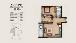 Современные Квартиры с Видом на Город в Стамбуле, Умрание, Планировка -4