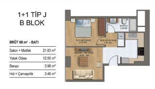 Квартиры в Элитном Комплексе Рядом с Метро в Стамбуле, Планировка -14