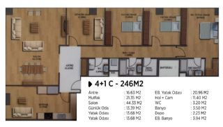 Квартиры в Элитном Комплексе Рядом с Метро в Стамбуле, Планировка -2