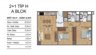 Квартиры в Элитном Комплексе Рядом с Метро в Стамбуле, Планировка -7