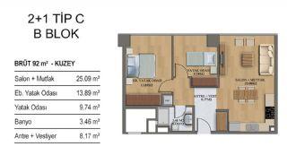 Квартиры в Элитном Комплексе Рядом с Метро в Стамбуле, Планировка -9