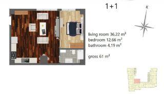 Апартаменты Рядом с Центром Города, Планировка -1