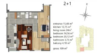 Апартаменты Рядом с Центром Города, Планировка -2