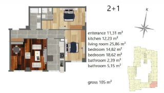 Апартаменты Рядом с Центром Города, Планировка -5