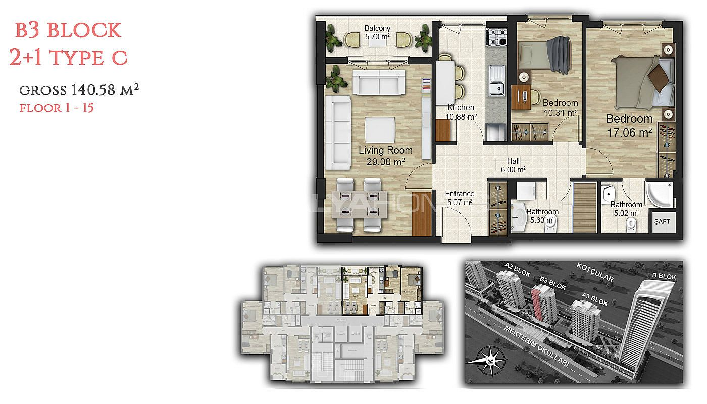 Great apartments for sale with unique concept in istanbul for Apartment plans for sale