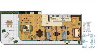 100% uthyrning garanterad havsutsikt lägenheter i Istanbul, Planritningar-7