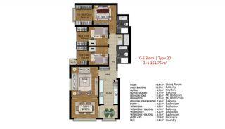 آپارتمان با کیفیت در ترکیه استانبول در نزدیکی بزرگراه تی ای ام, پلان ملک-8