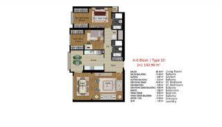 آپارتمان با کیفیت در ترکیه استانبول در نزدیکی بزرگراه تی ای ام, پلان ملک-14