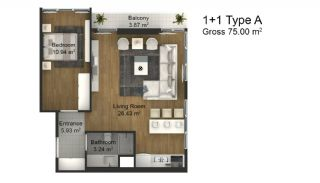 1 Bedroom Intelligent Apartments in Istanbul Esenyurt, Property Plans-1